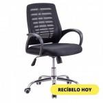 SILLA DE OFICINA CON BRAZOS Y RODOS NEGRA SL123B