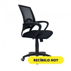 SILLA OFICINA CORONA CON BRAZOS Y RODOS NEGRA C8352